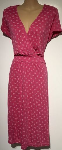 FAT FACE PINK FLORAL JERSEY KNEE LENGTH DRESS SIZE 14